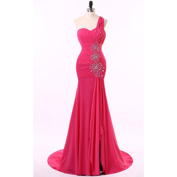 One Shoulder Chiffon Crystal Red Trumpet Mermaid Long Prom Dress (560 BRL) ❤ liked on Polyvore featuring dresses, long red dress, pink chiffon dress, one shoulder prom dresses, chiffon cocktail dress and one shoulder cocktail dress