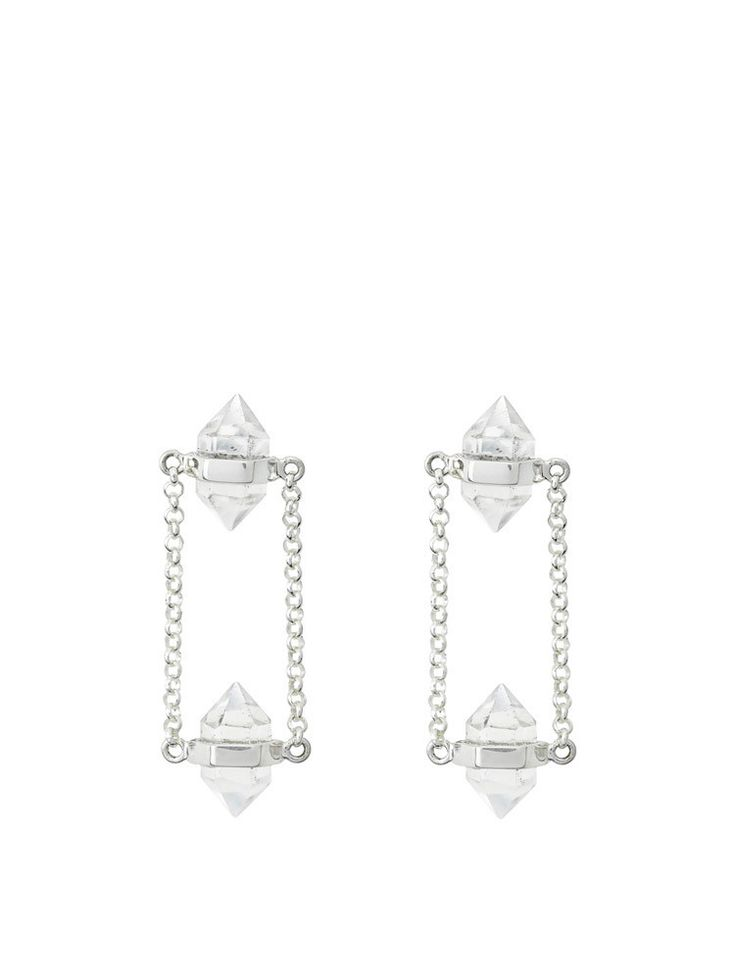Krystle Knight - Shining Double Crystal Studs - Sterling Silver - $119.00