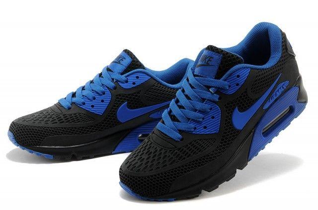 Nike Air Max 90 Black Royal Blue Men's Running Shoes   Nike ...