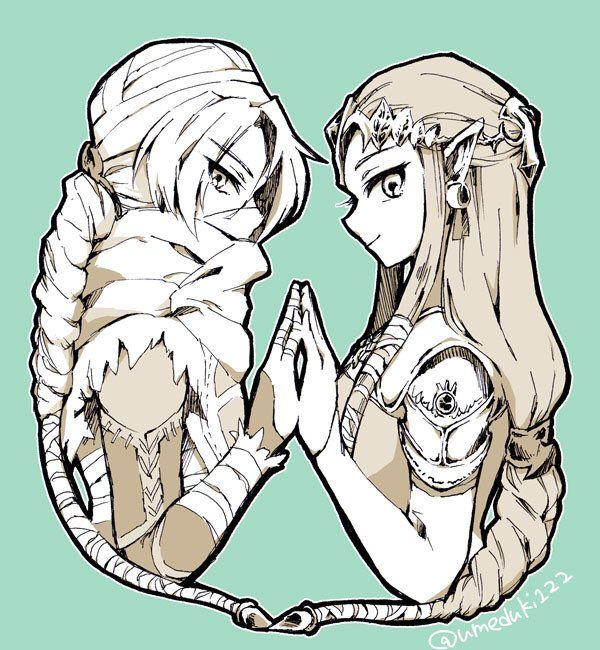 Sheik and Zelda, by @umeduki122<Okay confession  time: I just played OoT for the first time in my life (3DS Remake anyway) and wow do I have a new appreciation for Zelda. I was too young as a kid to be in the N64 club, plus I'm a girl soooo yeah. I knew Sheik was Zelda from Smash Bros, but assumed it was just some dumb gimmick for Zelda. Dang, was I wrong! Zelda was like, one of the only princesses at the time who didn't sit around waiting for the hero to do all the work. She was a BA ninja…