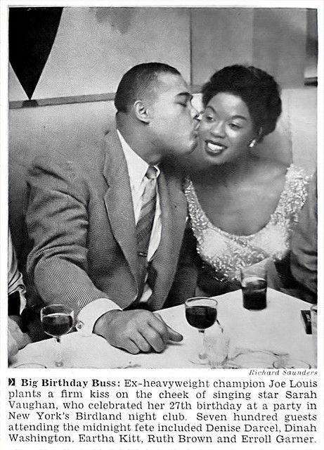 Joe Louis Kisses Sarah Vaughan On Her 27th Birthday - Jet Mag, Apr 10, 1952
