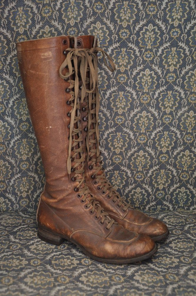 1920s leather boots / vintage antique 20s 30s leather lace up boots / Bootleggers. $525.00, via Etsy.