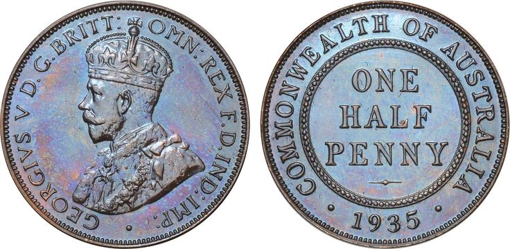 1935 Melbourne Halfpenny, even lustrous dark brown FDC.  Lot 1388 Estimate: $12,500