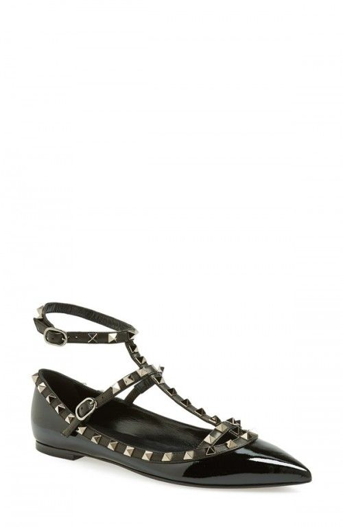 Valentino Noir Rockstud Double Ankle Strap Patent Leather Pointy Toe Flats  Women Black 9 5us 39