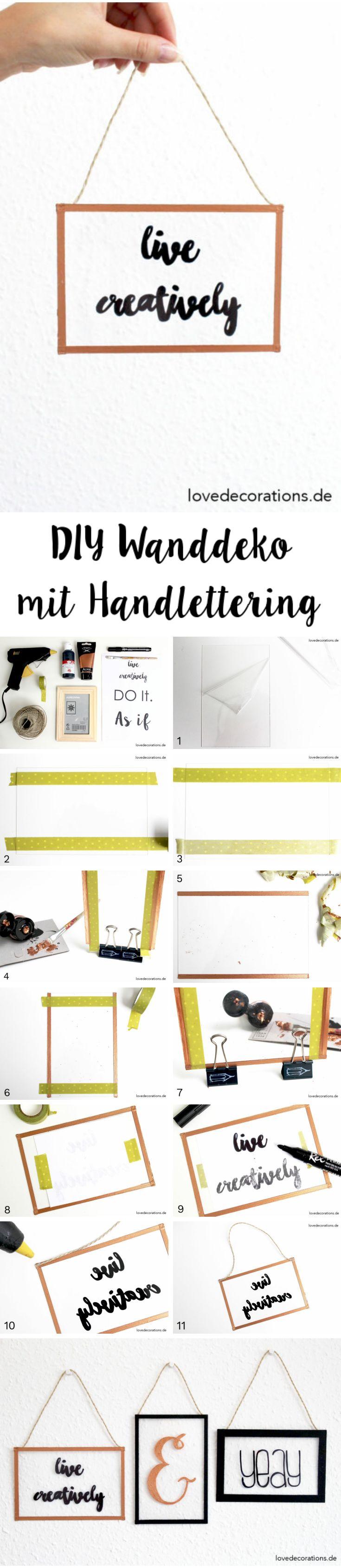 DIY Wanddeko mit Handlettering selbermachen