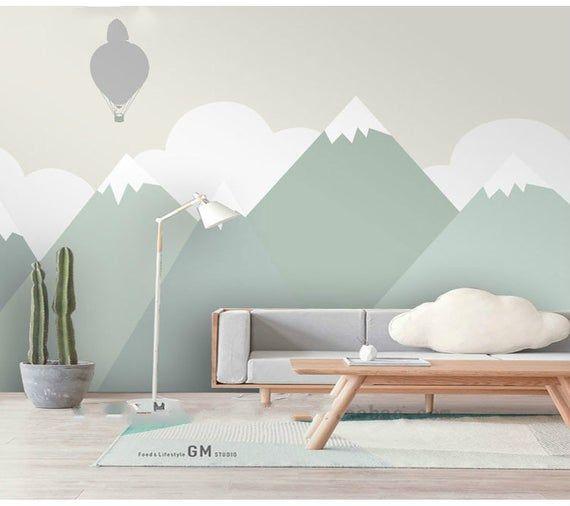 Hand bemalt grün geometrische Kinderzimmer Kinder Tapete Wand Wandbild, geometrische Berg Kid Kinder Wand Wandbild Wand-Dekor