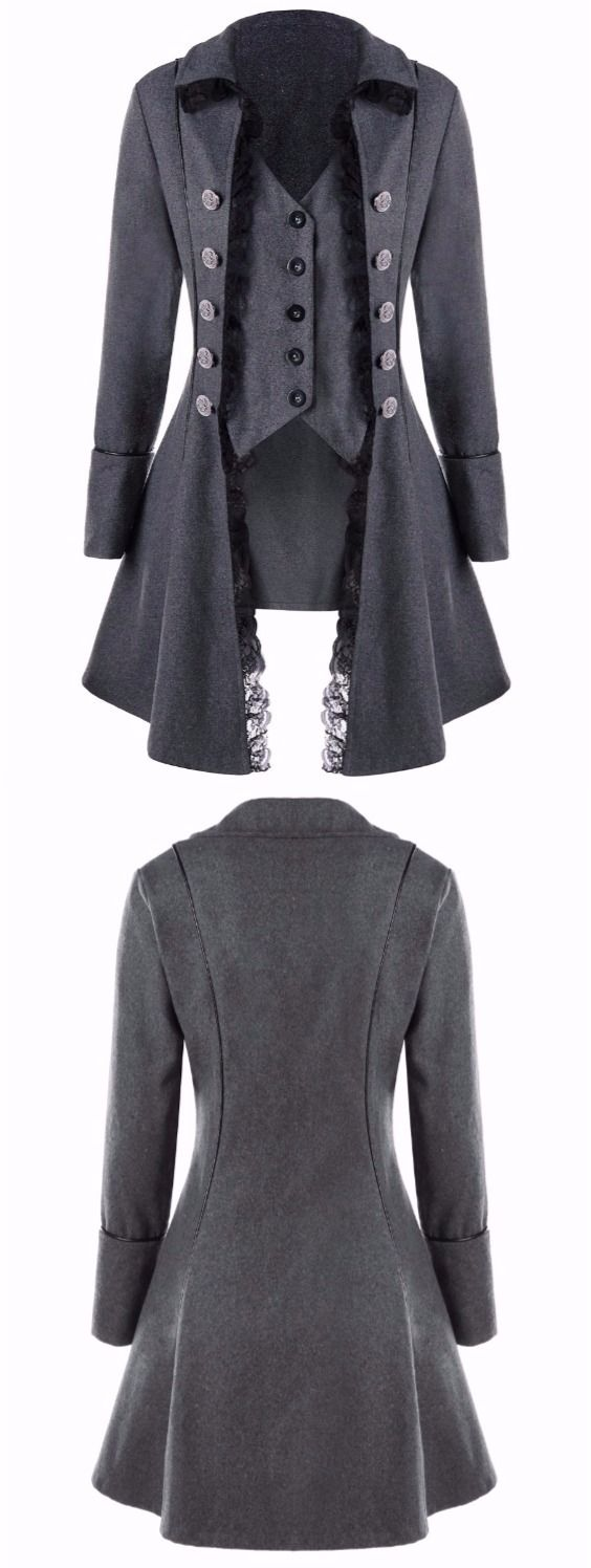 Lace Trim Button Up Tailcoat