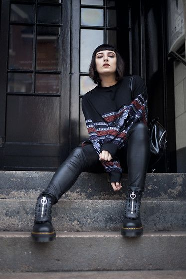 Get this look: http://lb.nu/look/8923271  More looks by Amy Souter: http://lb.nu/amystardust  Items in this look:  Zara Sequin Jumper, H&M Faux Leather Trousers, Dr. Martens Jungle Boots, Primark Pvc Bag   #edgy #grunge #minimal #beanie #ankleboots #combatboots #drmartens #lazyoaf #jungleboots