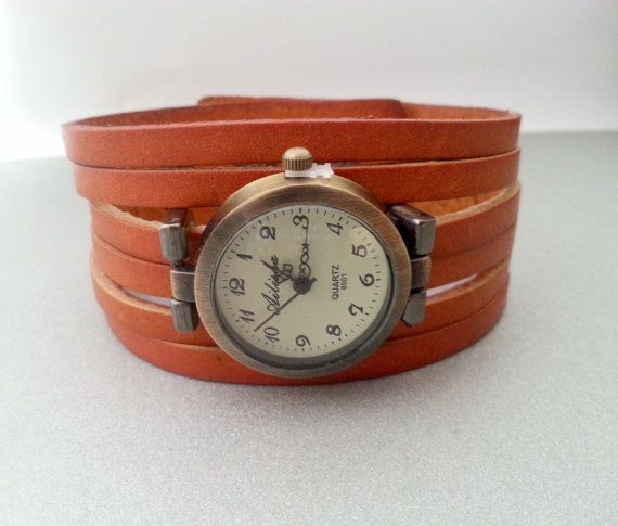 Brown leather strap watch. Charms can be added - write to me. Length 22,5cm(approx. 9in), watch face diameter 2,7cm(1,1in). Free gift packages. Great gift idea.