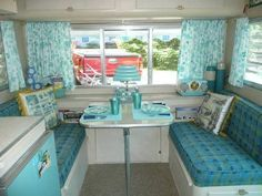 retro camping interiors  | Vintage camper, aqua interior. | COOL RVs, Trailers, 50's, 60s