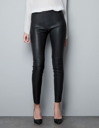 All i want for christmas is STRETCH LEATHER TROUSERS - Trousers - Woman - ZARA United States
