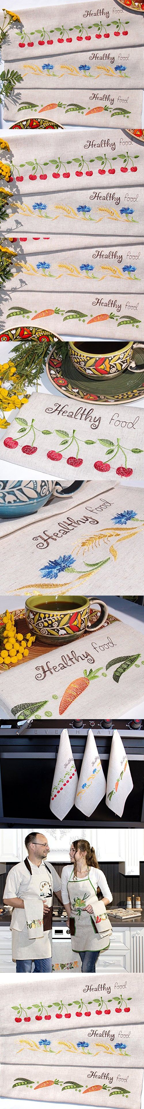 """H-line 17.5""""x25.6"""" Set of 3 EMBROIDERED LINEN kitchen dish tea towels kitchen Absorbent Gift for Home, Housewarming Anniversary Birthday Women Her Hostess Friends Christmas gifts (Cherry-Carrot-Wheat)"""