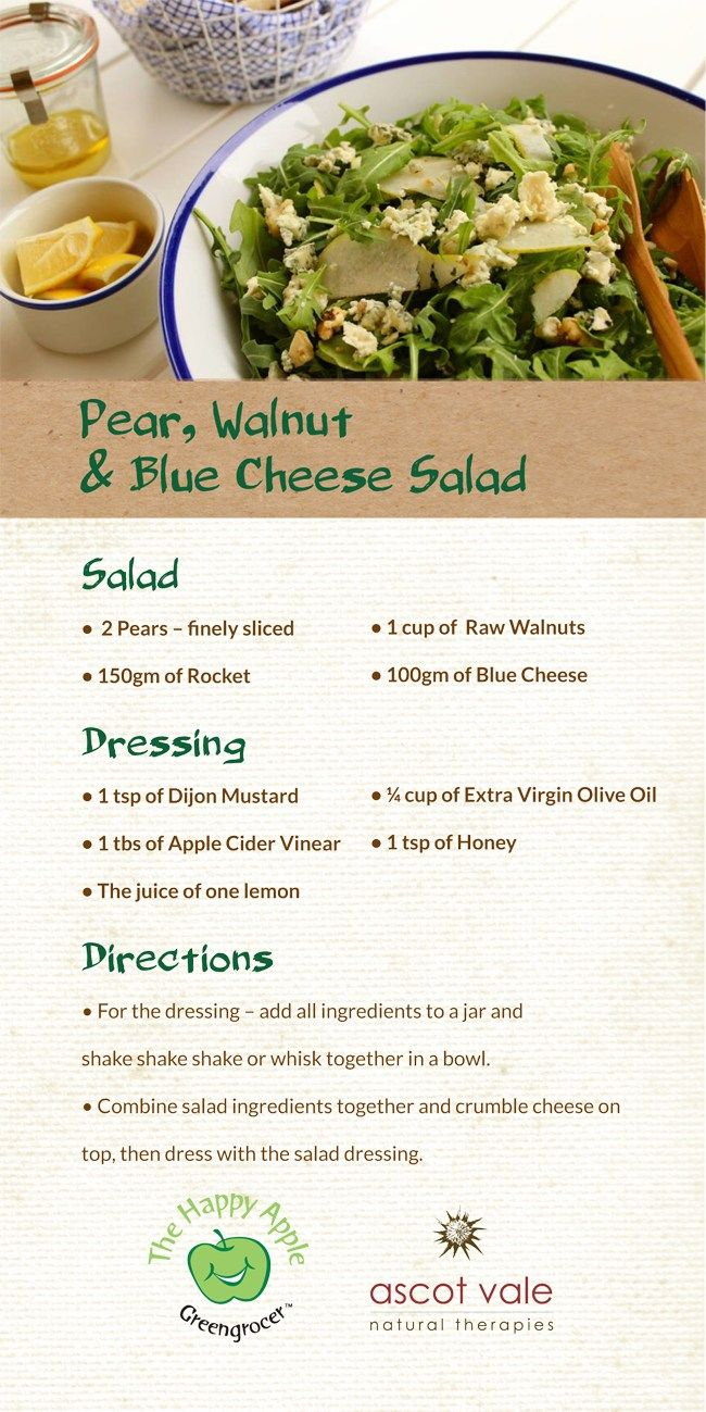 Pear, Walnut and Blue Cheese salad, perfect with everything!
