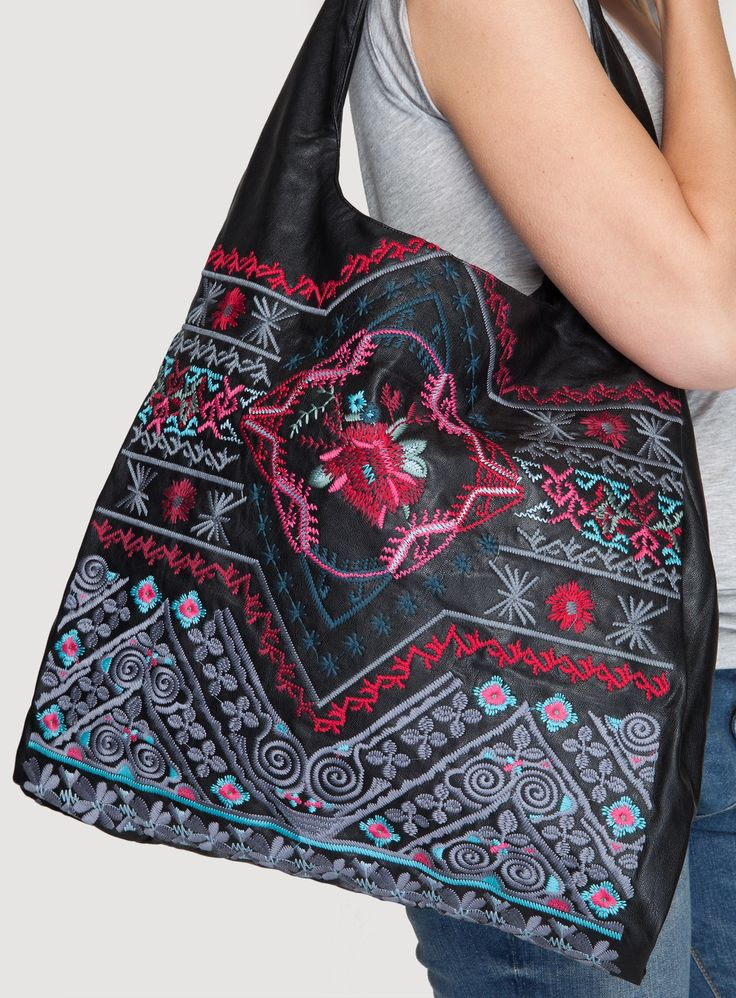 Nelange Bag Black - The BIYA NELANGE BAG adds a luxe boho touch to any outfit! This vegan leather tote bag features a rich embroidery design that details the entire body. #veganleather