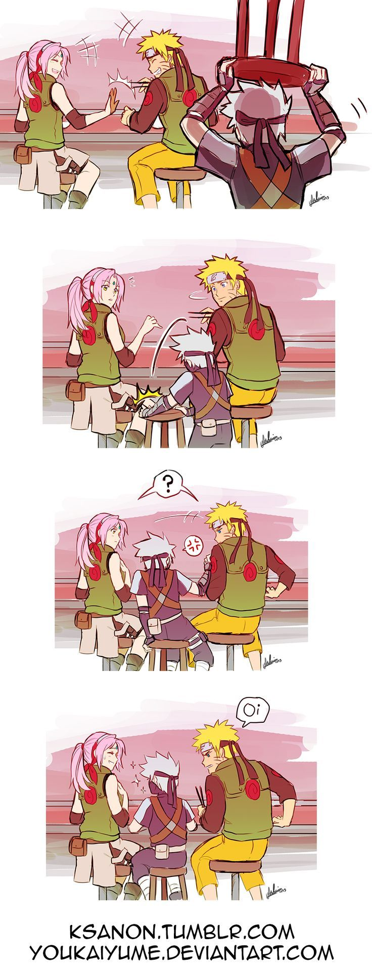 Sakura, Naruto y Kakashi