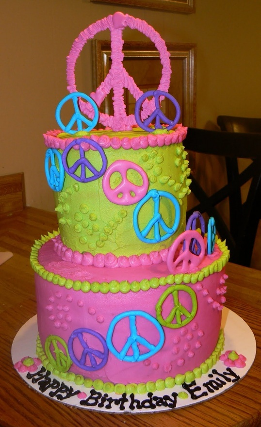 Peace Sign Birthday Cake, with MY name!!!! LOL Can I have this birthday cake??