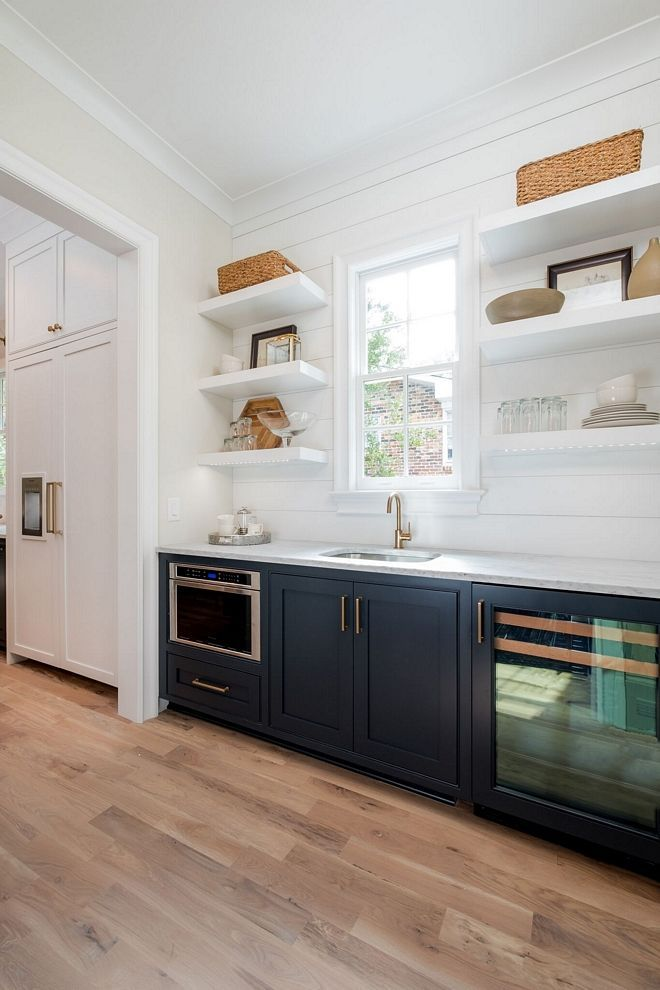 Butlers Pantry Microwave Beverage Refrig Custom Shiplap Wall With Floating Shelves Shiplap Kitchen Home Ship Lap Walls