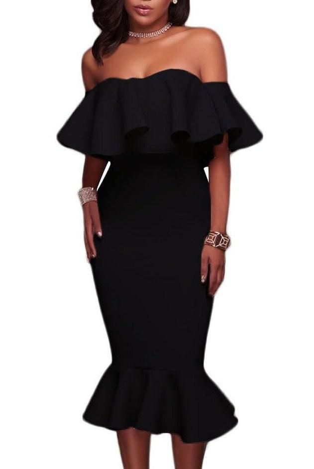 Fashion Ruffle Off Shoulder Mermaid Knee Length Little Black Dress