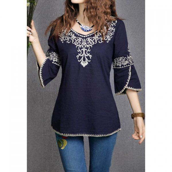 3/4 Sleeves Scoop Neck Ethnic Totem Pattern Embroidered Bordered Ladylike Women's Blouse ($16.57)