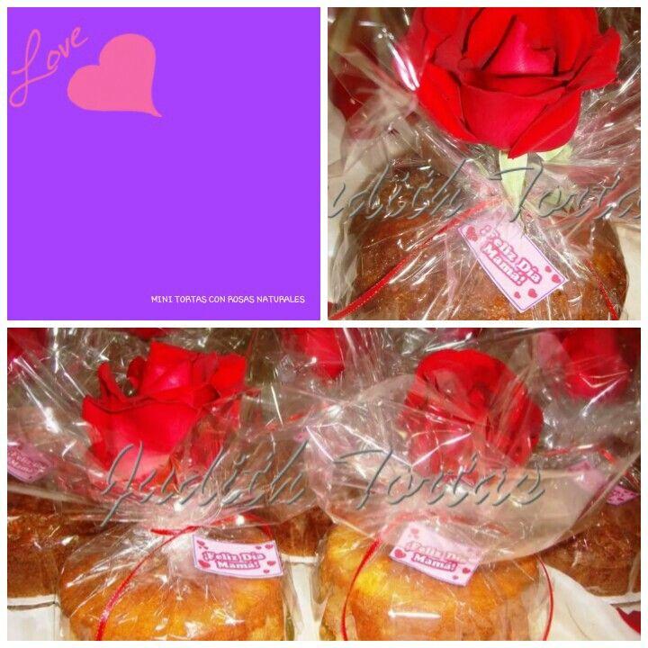 "Mini tortas decoradas con rosas rosas ""Dia de las Madres"""