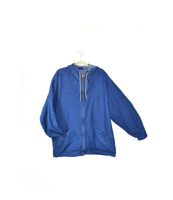 Vintage Denim Parka Jacket Denim Pullover by founditinatlanta