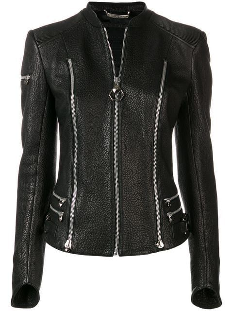 b11abf5e758 PHILIPP PLEIN | Zip Detailed Jacket | $4,687 | Constructed from black  lambskin, this zip