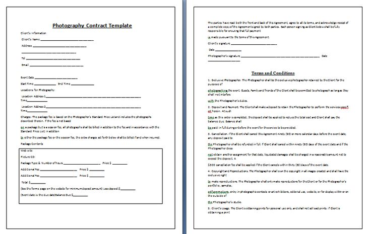 Whether you are photographing a wedding, birthday party, senior portraits or family reunion event, it's essential that you prepare a contract and ask the client to sign on it. Description from contracttemplates.org. I searched for this on bing.com/images