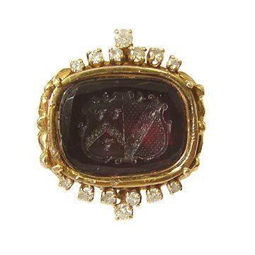 19th century carved amethyst intaglio ring with diamonds in 14kt yellow gold.