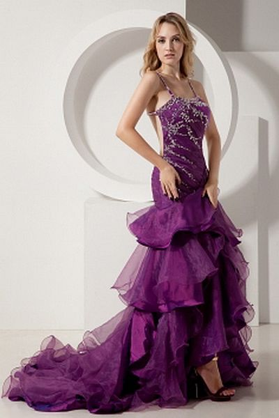 Luxury Spaghetti Strap A-Line Prom Gown wr1445 - http://www.weddingrobe.co.uk/luxury-spaghetti-strap-a-line-prom-gown-wr1445.html - NECKLINE: Spaghetti Strap. FABRIC: Organza. SLEEVE: Sleeveless. COLOR: Purple. SILHOUETTE: A-Line. - 152.59
