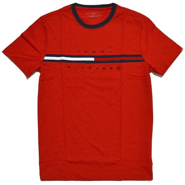 Tommy Hilfiger Mens Classic Fit Big Logo T-Shirt ($45) ❤ liked on Polyvore featuring men's fashion, men's clothing, men's shirts, men's t-shirts, mens shirts, mens wide striped shirts, mens classic fit shirts, mens wide neck t shirts and mens t shirts