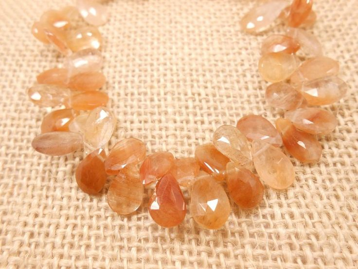 AAA Genuine PEAR COPPER RUTILATED BRIOLETTE FACETED BEADS,54 PEC,7X11MM-7X9MM. #GemstoneTopper #Faceted
