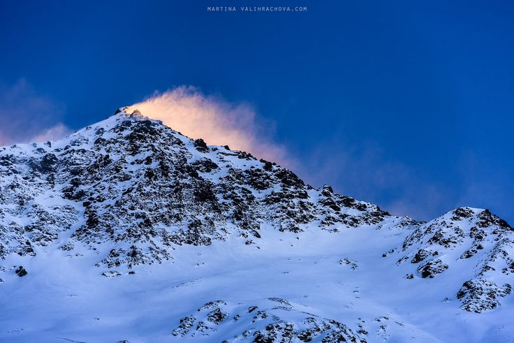 Fire Mountain - The sunset was lit up by the wind swirling with snow.