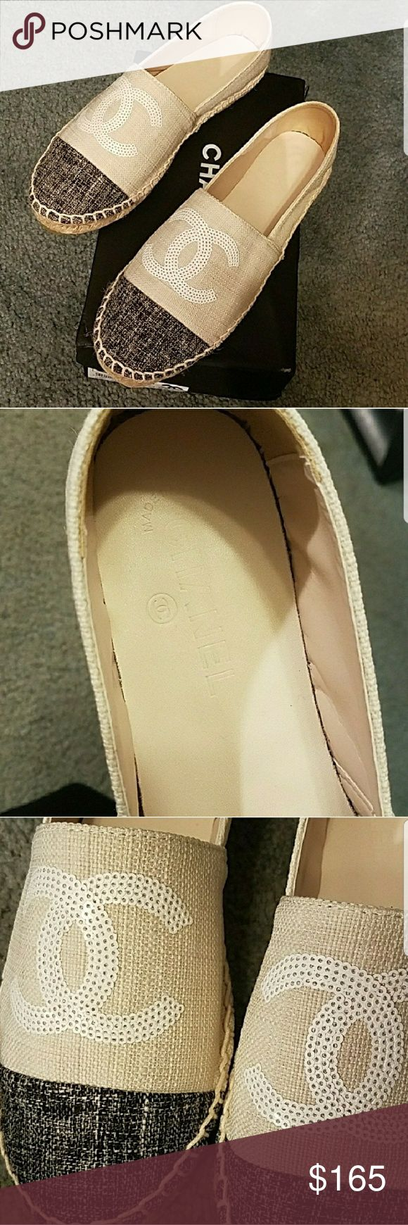 NEW beige sequin toe cap espadrille flats size 7.5 Shoes are brand new. Price reflects quality. All sales final. No returns. Let me know if you want the box that comes with, its a bit squished. Shoes