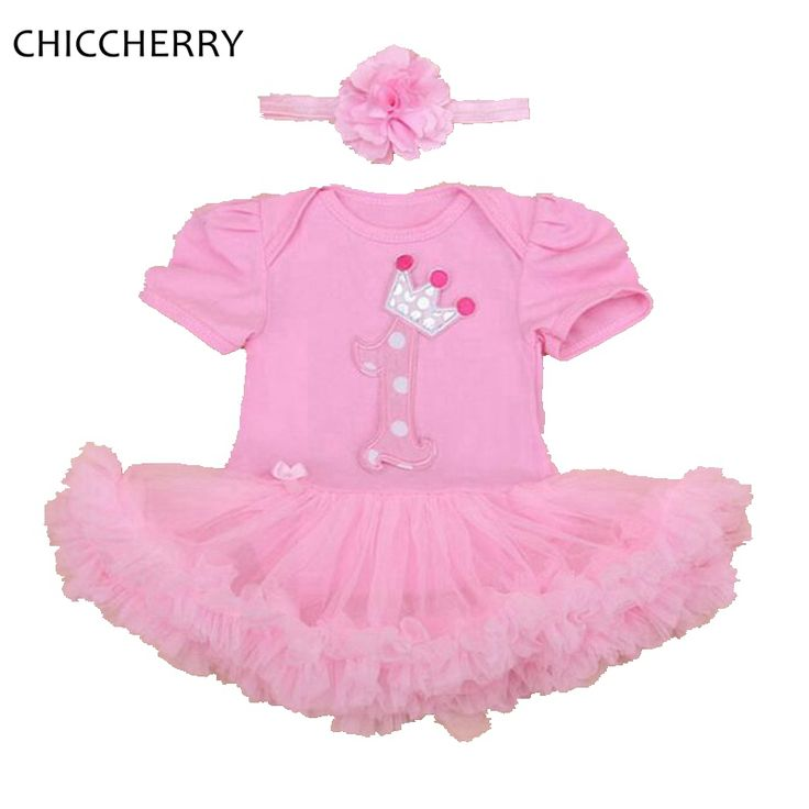 >> Click to Buy << Pink 1 Year Girl Birthday Dress Summer Baby Lace Romper Dress + Flower Hairband Set Ropa De Bebe Cute Toddler Girl Clothes #Affiliate