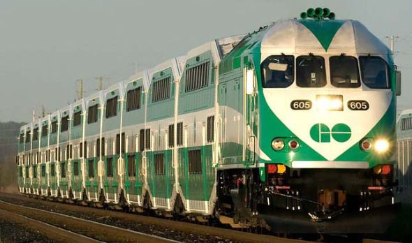 Go Transit -  Regional public transit service for the Greater Toronto and Hamilton Area. Trains depart from Union Station on Front Street. http://www.gotransit.com/publicroot/en/default.aspx