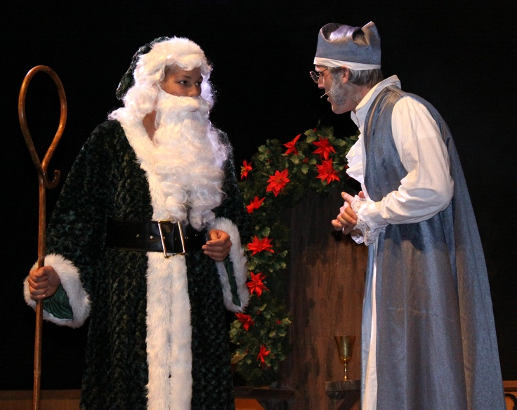 Levy Stewart-Bernard as the Ghost of Christmas Present and Joseph Wilson as Ebenezer Scrooge — at Briercrest College and Seminary.