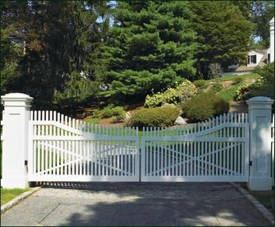 Cellular Vinyl Steel Framed Entrance Gate | Entrance Gates, Wood Gates, and more from Walpole Woodworkers