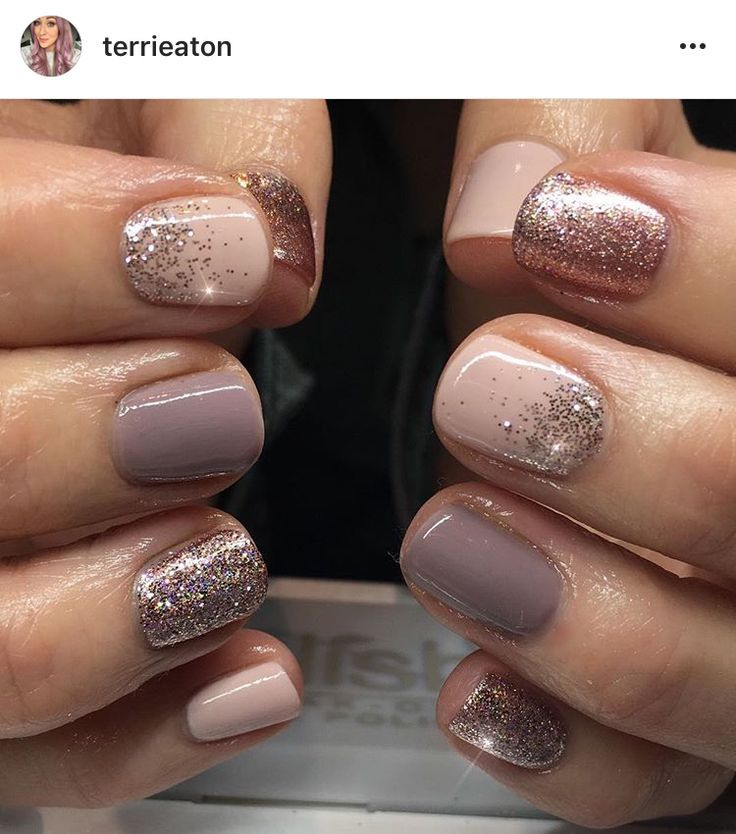 Nude, rose gold glitter nails. Gelish & Magpie.