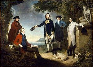Naturalists Dr. Daniel Solander and Sir Joseph Banks (on the left). Captain James Cook, Dr. John Hawkesworth (writer), and the Earl of Sandwich, several times First Lord of the Admiralty. Men who changed the world. Painting by John Hamilton Mortimer.