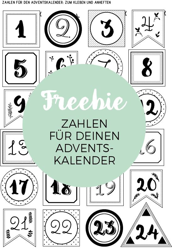 Lastminute Adventskalender Zahlen Freebie Adventskalenderzahlen
