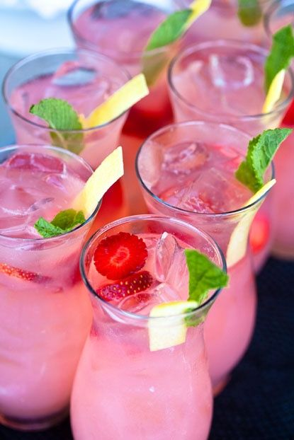 Strawberry Vodka Sparklers. 2 oz. strawberry infused Svedka vodka, 2 oz. simple syrup, 2 oz. fresh lemon juice {or pink lemonade}, sparkling wine. Pour simple syrup and vodka into a shaker and shake with ice and add lemon juice. Top with sparkling wine. Garnish with strawberries and mint.