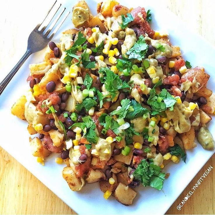 """Potato Nachos by @candicelynnfitvegan  Ingredients  12 red potatoes (or other potato of choice), chopped into bite size pieces 1/2 tsp garlic powder 1/2…"""