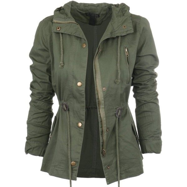 Womens Fashion Lightweight Button Down Hoodie Safari Jacket found on Polyvore