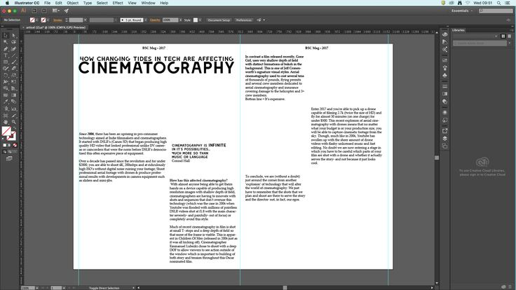 screenshot 1: The bare bones of the article laid out in Illustrator. I then proceed to add pictures and further format the text.