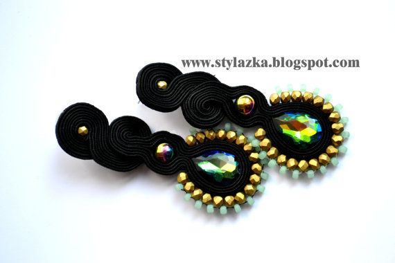 Soutache black and green earrings with glass by StylazkaSoutache