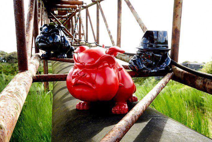 Winston The Red Devil Bulldog Ornament. This devil bulldog certainly stands proud guarding his territory and symbolises the steely determination of the legendary British Prime Minister, Sir Winston Churchill.  Tweet