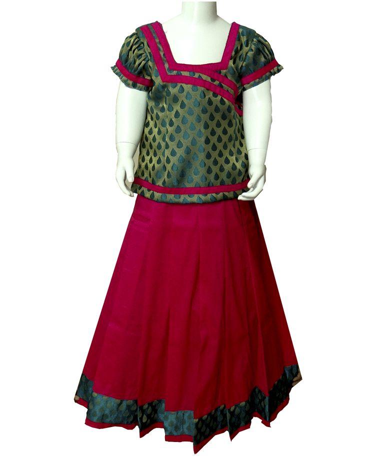 #readymadePattupavadai #kidspattupavadai red with green Pattu pavadai
