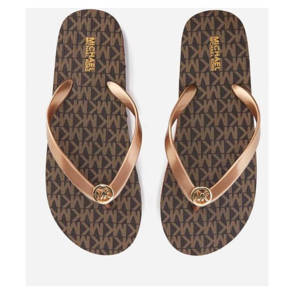 MICHAEL MICHAEL KORS Women's MK Logo Flip Flops - Brown ($55) ❤ liked on Polyvore featuring shoes, sandals, flip flops, brown, logo sandals, brown sandals, pvc shoes, flat footwear and logo shoes