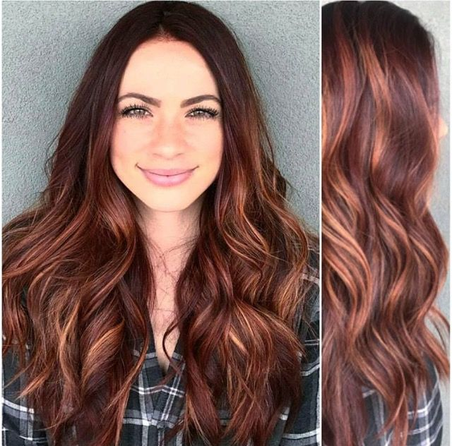 Gorgeous auburn hair with blonde balayage - little more red / warm at bottom go a little more copper maybe?