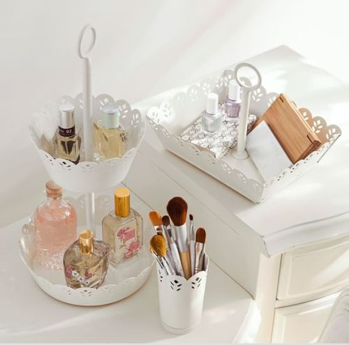 dressing table organisation makeup brushes perfume jewelry baskets and trays